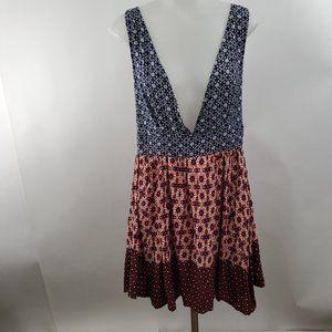 Lulus Dress M Mini Blue Read Corset Lace Up Open B